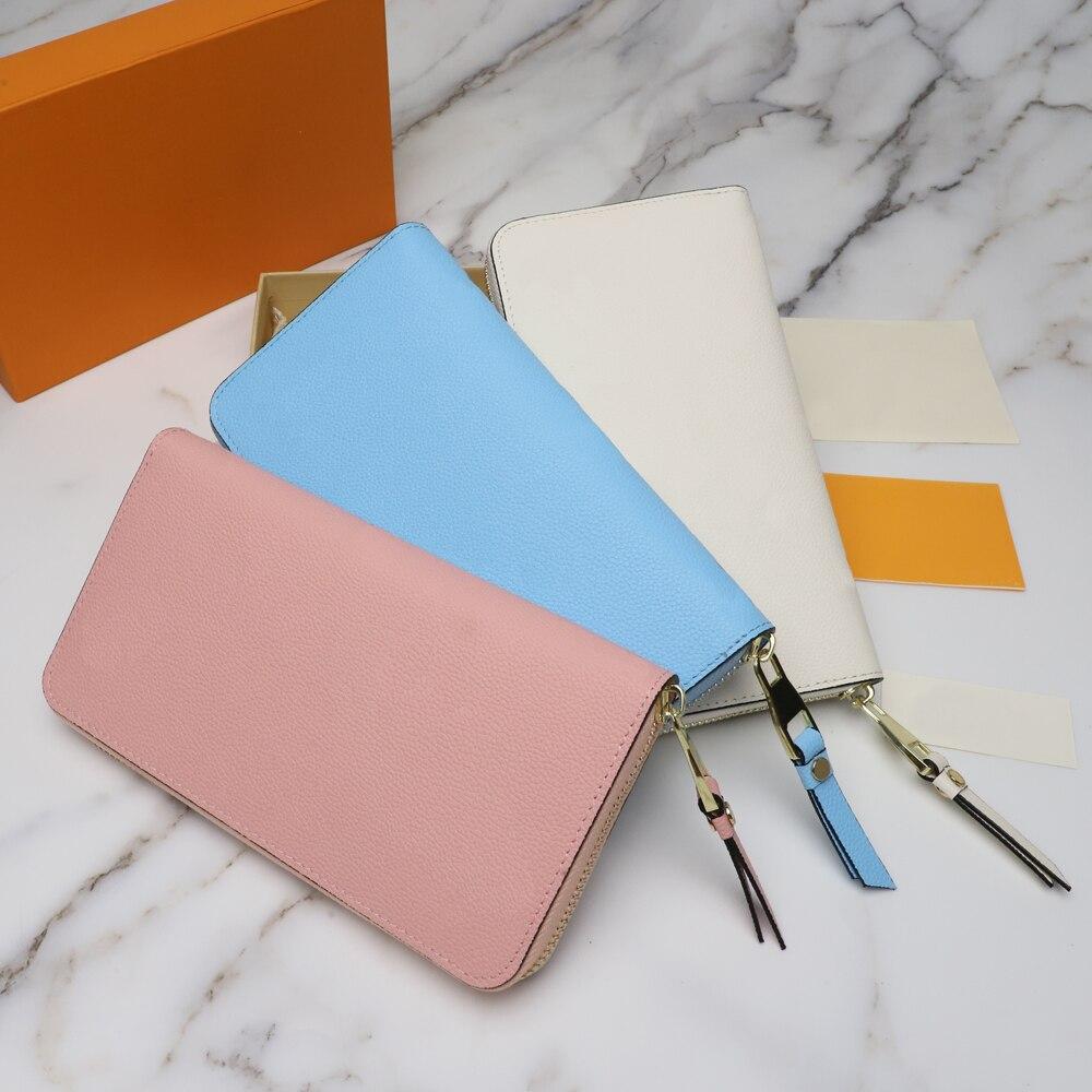 محفظة فاخرة بسحاب موضة كلاسيكية نمط متعدد فتحات للبطاقات من الداخل جودة عالية 100% جلد أصلي شحن مجاني