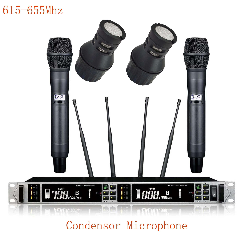 Leicozic مكثف ميكروفون ميكروفون لاسلكي مهني ATX118D 615-655Mhz التنوع الحقيقي ميكروفونوس inalambreos proesionales