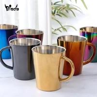300ml stainless steel coffee mug portable milk cup with handle double wall rainbow cups travel tumbler milk tea mugs