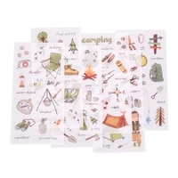 6 Pages Pack DIY Diary Scrapbooking Phone Index Seal Stickers Camping equipment Travelling Life Decorative Planner Stickers