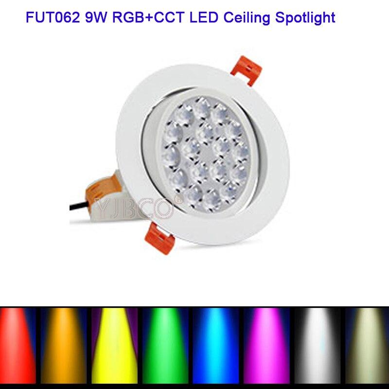 Miboxer FUT062, 9W, RGB + CCT, AC86-265V, brillo redondo, ajustable, inalámbrico, control wifi, luz descendente led