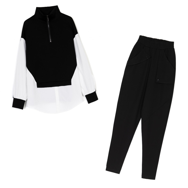 European Spring Autumn Lazy Wind Loose Slimming Long Sleeves Large Size Stitching Women's Fashion Suit Two-Piece