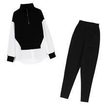 European Spring Autumn Lazy Wind Loose Slimming Long Sleeves Large Size Stitching Women's Fashion Su