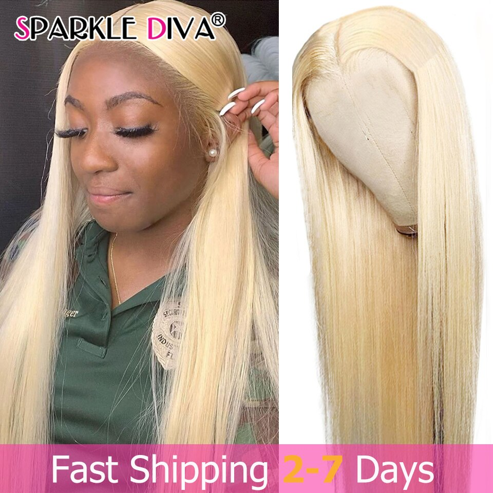 613 Honey Blonde Human Hair Wigs Brazilian Straight Hair Wig For Black Women Middle Part 13x1 Lace F