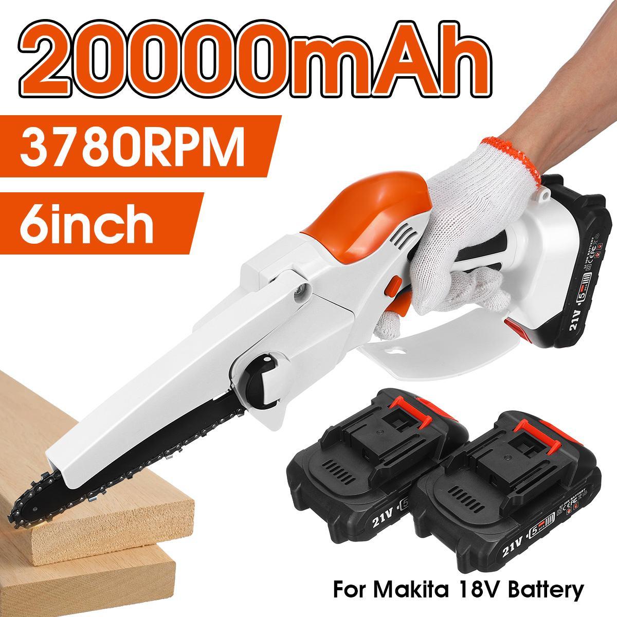 20000mAh 21 فولت 6 بوصة منشار كهربائي صغير قابلة للشحن بالمنشار 2 بطاريات تشذيب حديقة أداة السلطة لبطارية ماكيتا 18 فولت