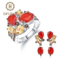 gems balle 925 sterling silver natural red agate citrine ring earrings sets candy jewelry set for women wedding fine jewelry