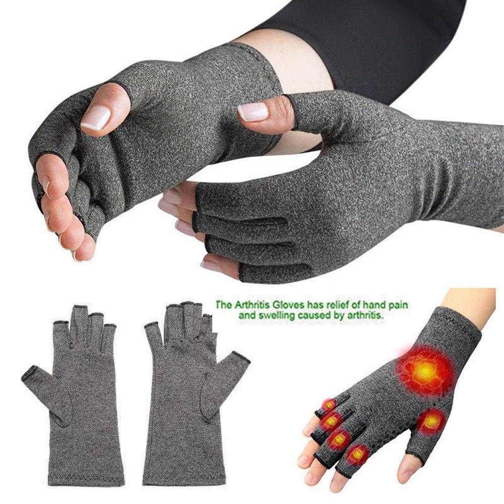 1 par de guantes de compresión de cobre para mujeres, hombres, dedos de mano, artritis, dolor articular, guantes de soporte carpiano