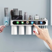 magnetic adsorption toothbrush holder automatic toothpaste squeezer home storage shelves bathroom accessories set household item