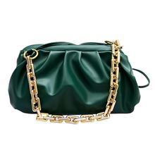 Złote torby na ramię z łańcuchem dla kobiet 2020 Solid Color Luxury Cloud Bag damskie torebki Crossbody Messenger Lady kopertówka na imprezę