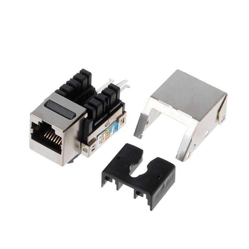 1 pc rj45 keystone cat6 protegido ftp liga de cobre utp módulo rede keystone jack conector adaptador de informação soquete