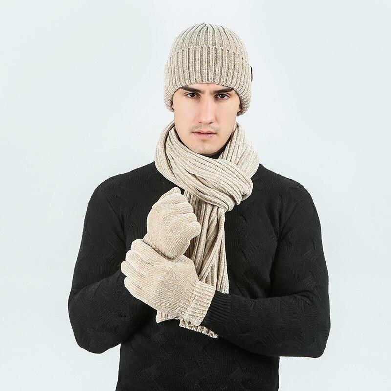 Otoño e Invierno Venta caliente gorro bufanda caliente guantes 3 uds conjunto de Color sólido acanalado patrón tejido gorro y bufanda de lana conjunto
