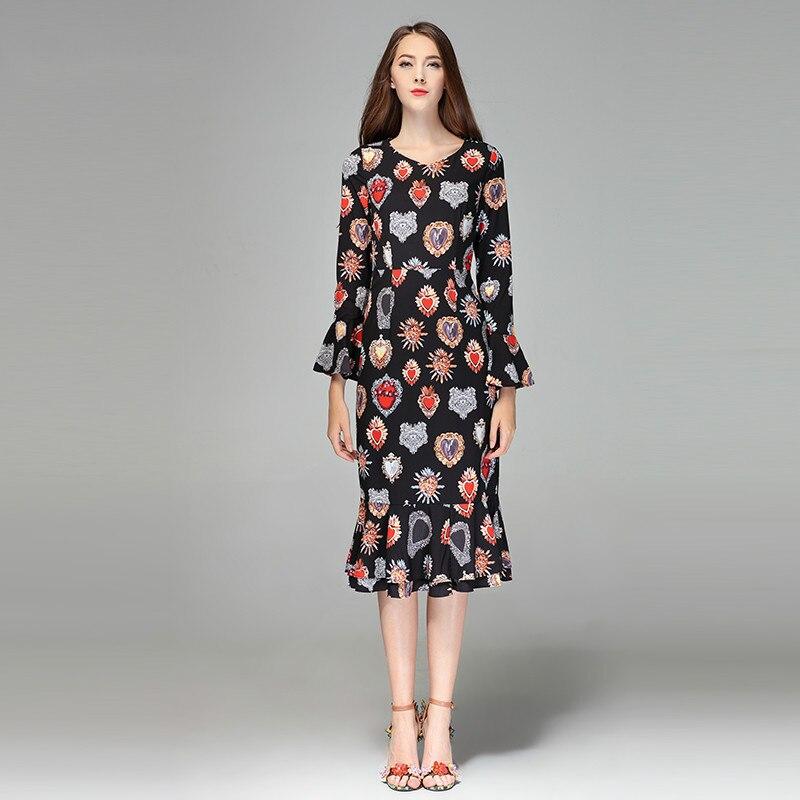 2020 High Quality Spring&Fall  Newest Cute Style Dress Full Sleeve  Elegant  Trumpet Fishtail Long Dress Women