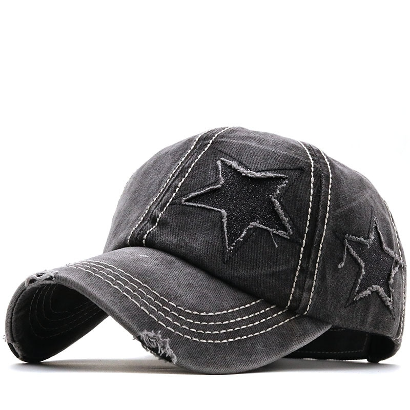 New Four Seasons Hole Ladies Braid Ponytail Cap Five-pointed Star Student Baseball Cap Cotton Washed