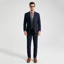 Tailor made slim fit suit for men Retro wool Navy dots Tweed wedding dress custom men suit Blazer Grey vests Allen Lapel
