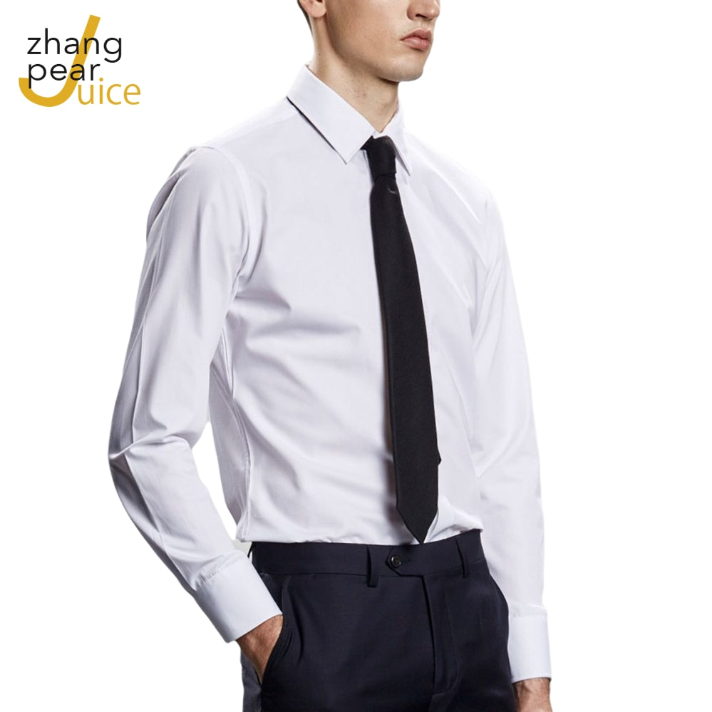 Men Fashion Cotton Long Sleeve Shirt Solid Slim Fit Male Social Casual Business White Dress