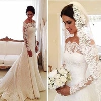 exquisite lace a line wedding dress long sleeves sexy off shoulder vintage custom made sweep train 2021 bridal gowns