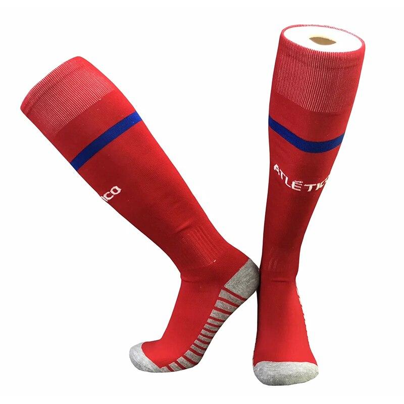 17-18 temporada, calcetines de entrenamiento de fútbol para hombres españoles, calcetines azules para el hogar, calcetines amarillos, calcetines deportivos de fútbol