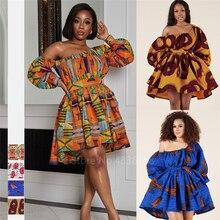 African Dresses for Women Full Sleeve Summer Tilting Shoulder Two Wear Dress Dashiki Print African Rich Bazin Top Maxi Clothes