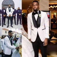 black and white mens prom tuxedos suits pattern tuxedos notch lapel center vent groom tuxedos wedding suits for men