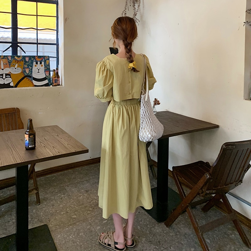 French Style Puff Sleeve Dress Women's Summer 2021 New Design Sense Midriff Outfit Waist Slimming El
