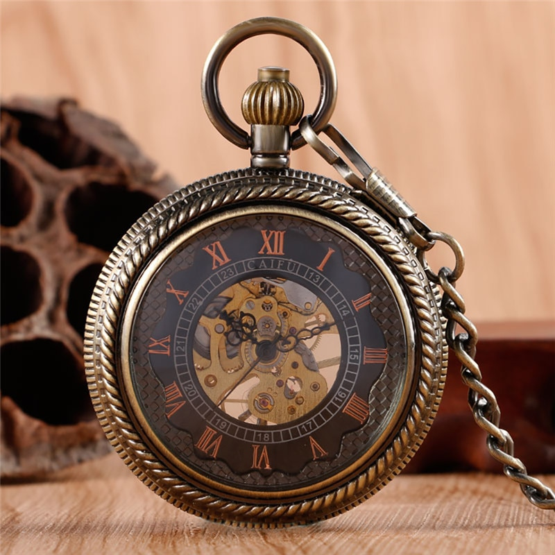 Steampunk Half Hunter Men Women Handwinding Mechanical Pocket Watch Carving Roman Number Skeleton Pendant Chain Collectable