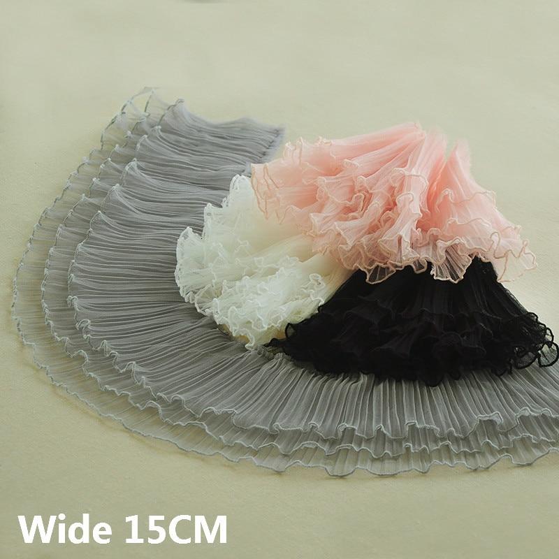 15CM Wide Three Layers Luxury Pleated Soft Mesh Lace Fabric Elastic Ruffle Trim Wedding Dress Fluffy Skirts Sewing Fringe Decor