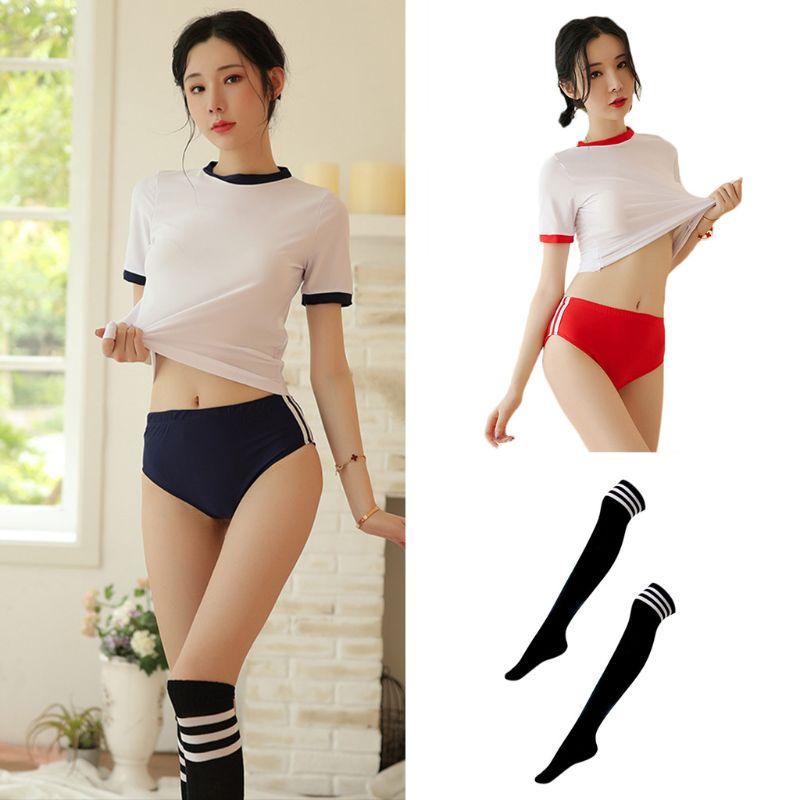 Uniforme de Anime japonés Sexy para mujer, ropa interior corta de manga corta para Cosplay, disfraz de porristas, traje deportivo para gimnasio