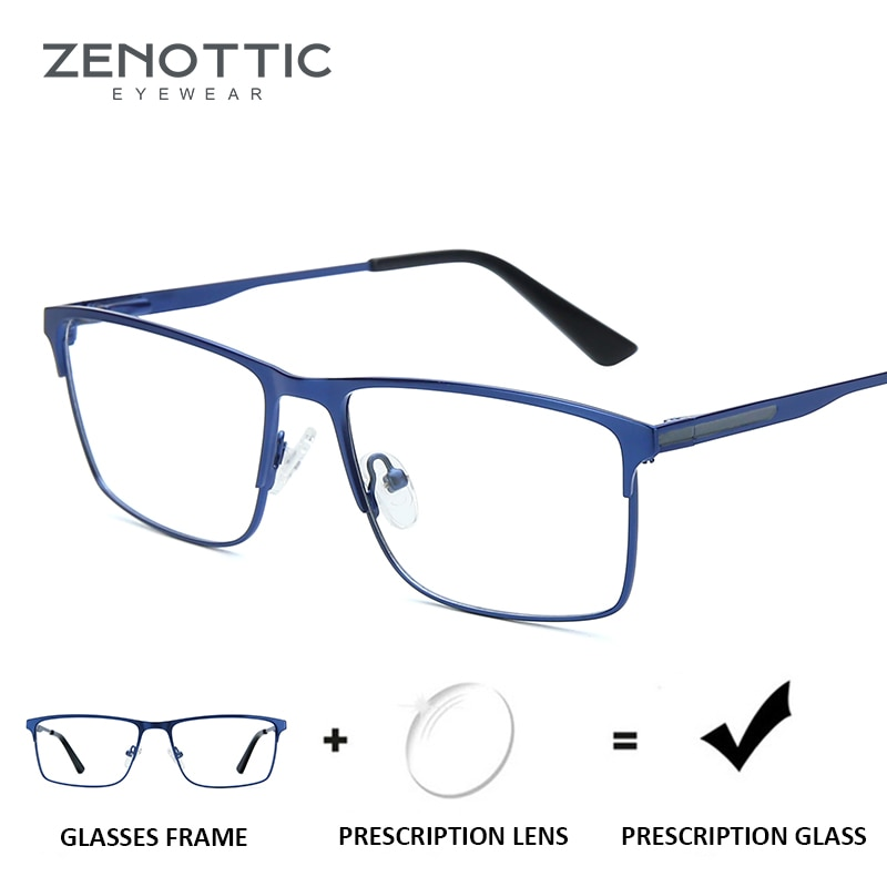 ZENOTTIC Titanium Progressive Prescription Glasses Men Square Anti Blue Light Photochromic Eyewear O