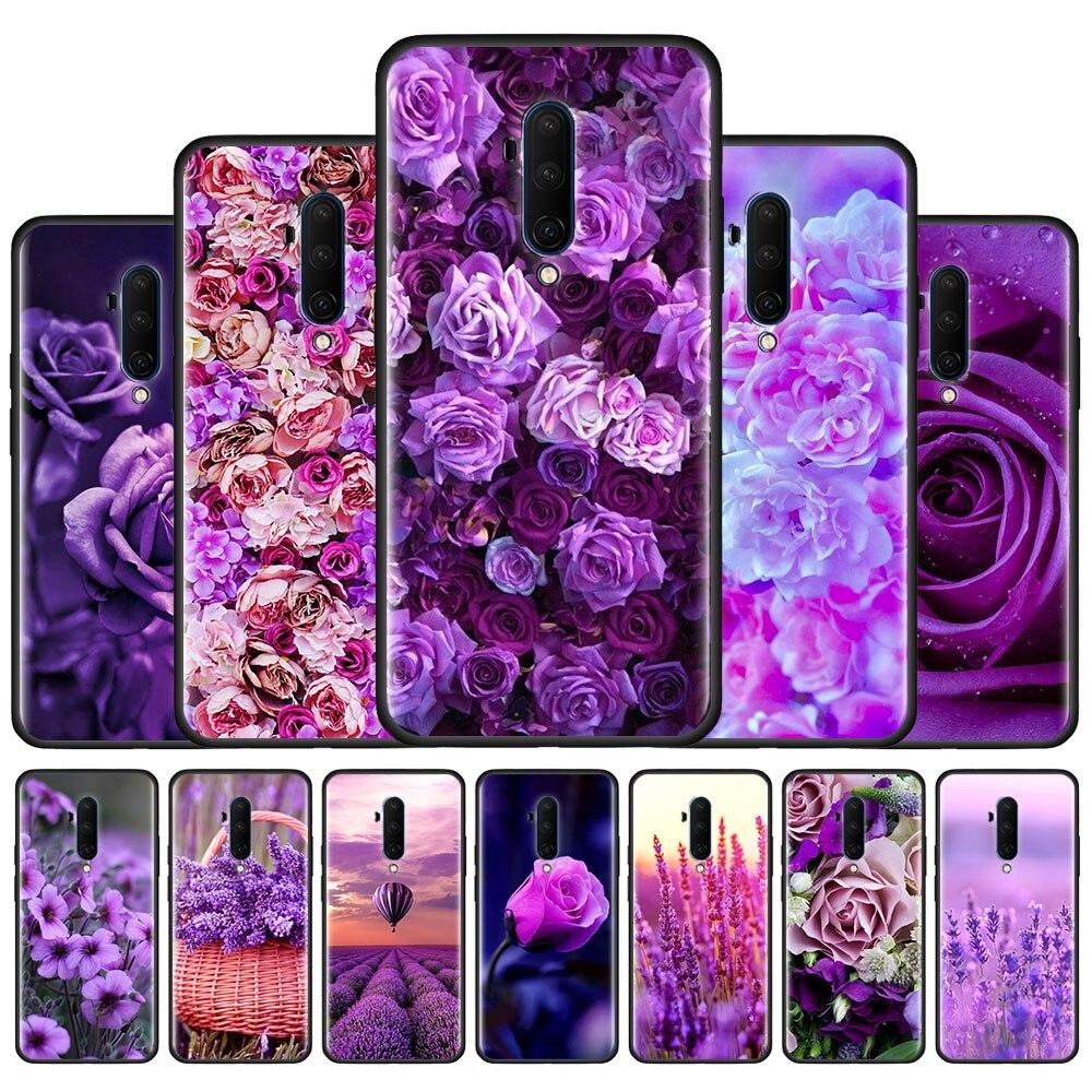 Funda de silicona para teléfono OnePlus Z 8 Nord 5G 8 8Pro 7 7Pro 7T 7TPro 6 6T funda trasera Coque Simple lavanda flores púrpuras