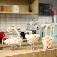 european style clear glass candy jar with glass lid storage bottles wedding decoration home kitchen food container storage tank