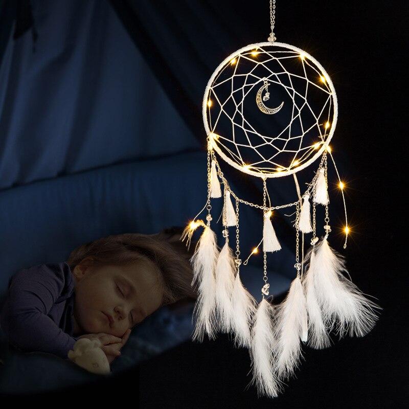 LED מנורת עף רוח פעמוני תאורה חלום התפסן בעבודת יד מתנות לוכד חלומות נוצת תליון רומנטי Creative קיר תלוי