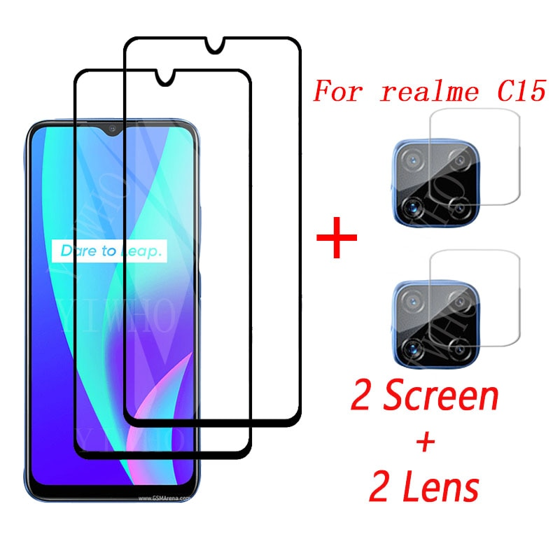4-in-1 Glass on Realme C15 Tempered Glass For Oppo Realme c15 c 15 camera lens protection screen pro