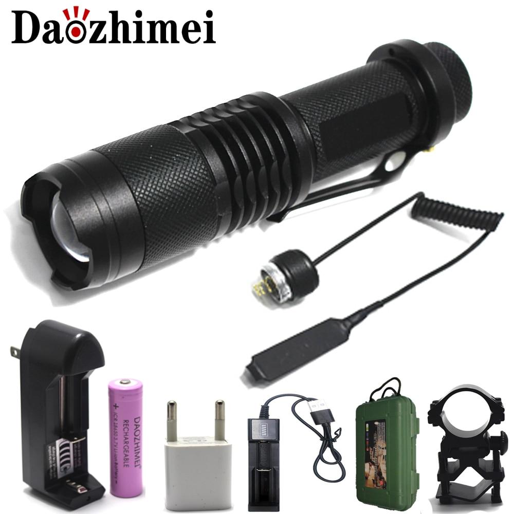 2000 Lumens XML T6 Mini LED Flashlight Adjustable LED Torch Focus Zoom Lamp+18650 Battery+ USBCharger/Mount/Gift box