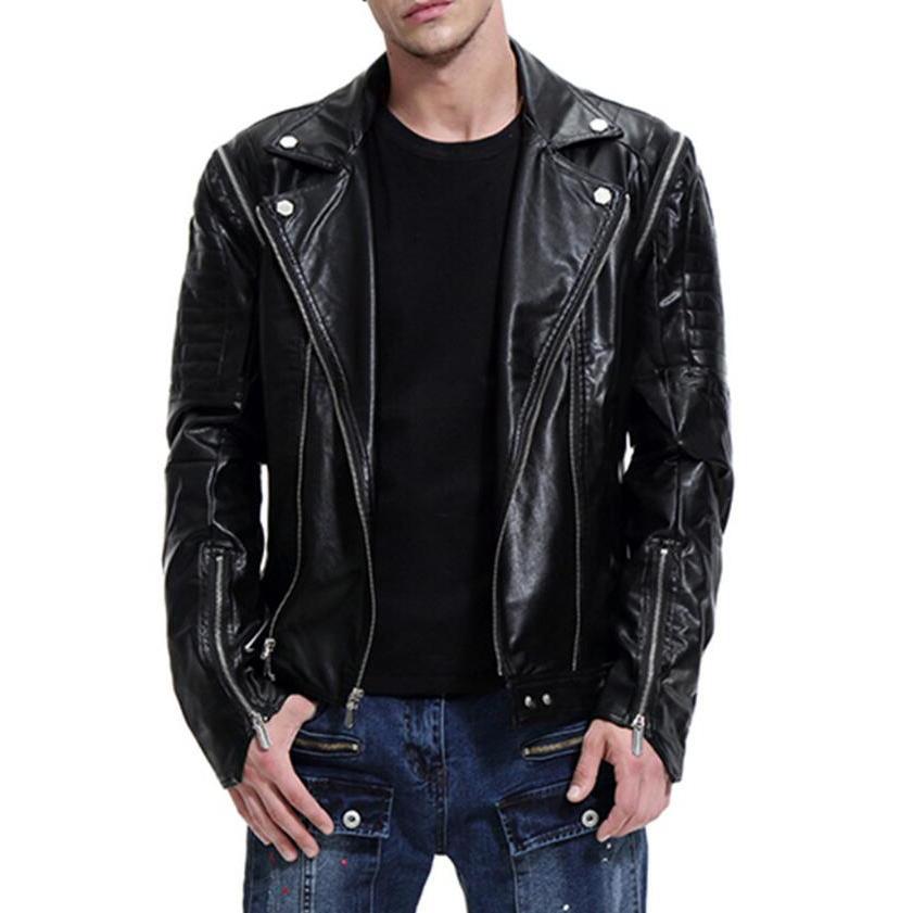 M-5XL 2020 الخريف جديد حجم كبير انفصال كم شخصية الذكور دراجة نارية سترة جلدية سليم صالح ملابس خارجية غير رسمية
