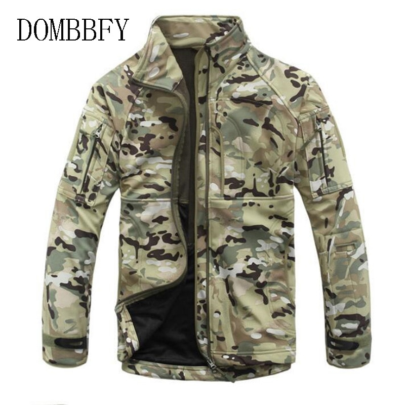 Chaqueta militar táctica de lana para hombre, parche térmico de piel de tiburón, prendas de vestir cálidas para caza, chaqueta cazadora de camuflaje