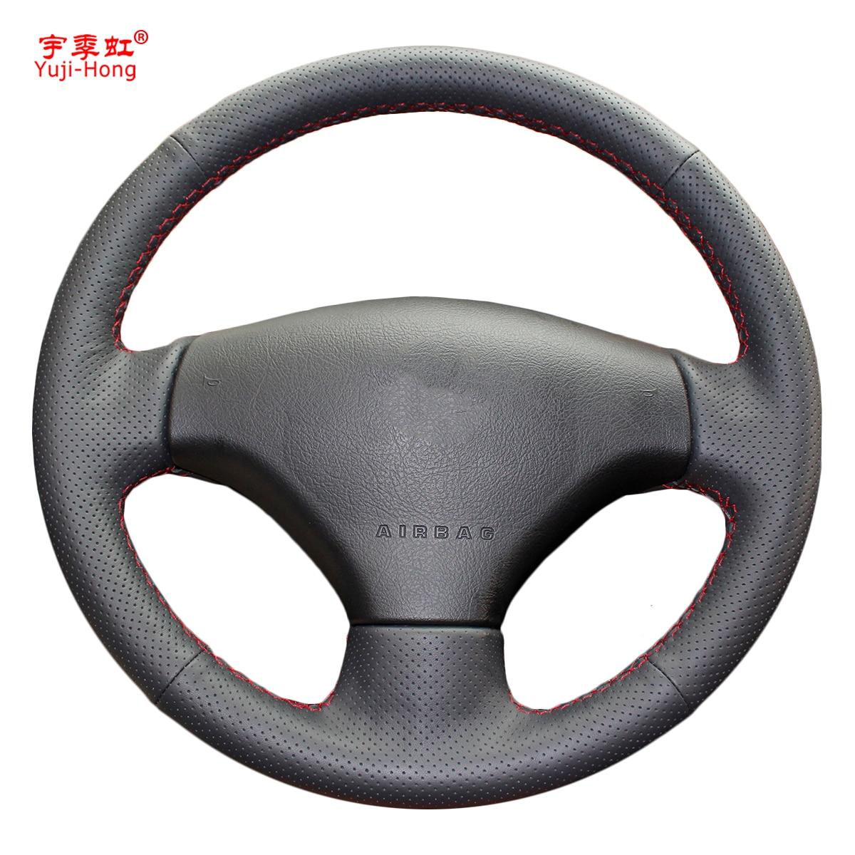 Чехол Yuji-Hong из искусственной кожи для автомобильного руля для Peugeot 206 207, сшитый вручную черный чехол для колеса
