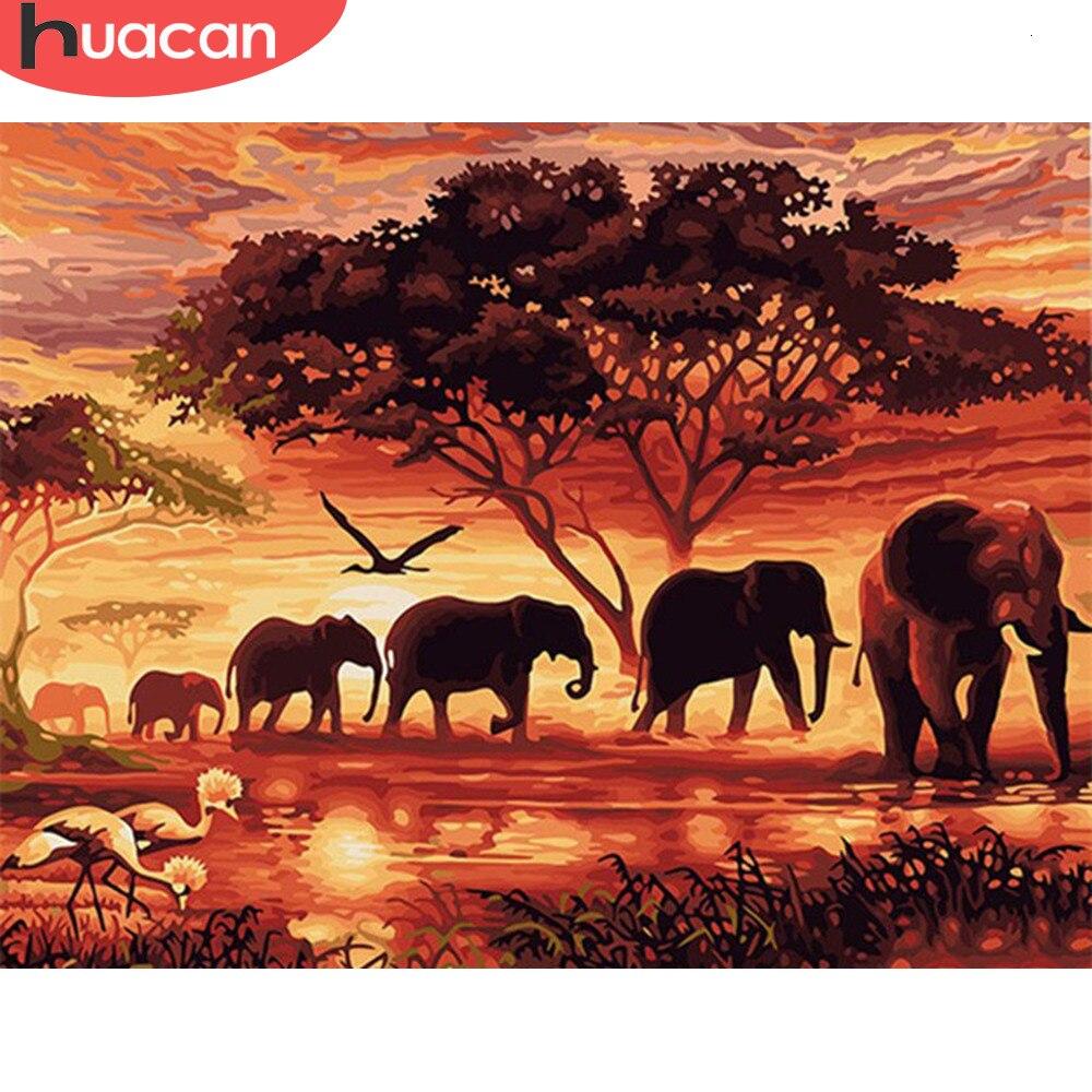 Huacan pintura por números elefante kits de desenho da lona pintados à mão imagem animal diy arte decoração para casa presente