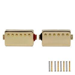 2 pçs captadores de guitarra elétrica selo fechado cor dourada pescoço guitarra bobina dupla humbucker pickups conjunto