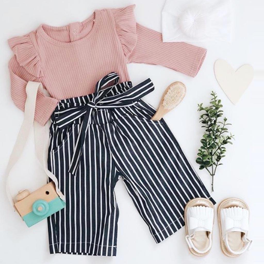 Осенняя одежда для маленьких мальчиков и девочек комплекты для новорожденных розовый длинный короткий комбинезон, боди, штаны в полоску ко...