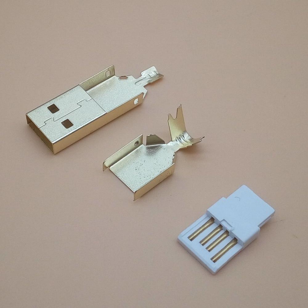 50 مجموعة مطلية بالذهب USB 3 في 1 DIY بها بنفسك مقبس التوصيل الذكور نوع DIY بها بنفسك سلك لحام 2.0 موصل usb
