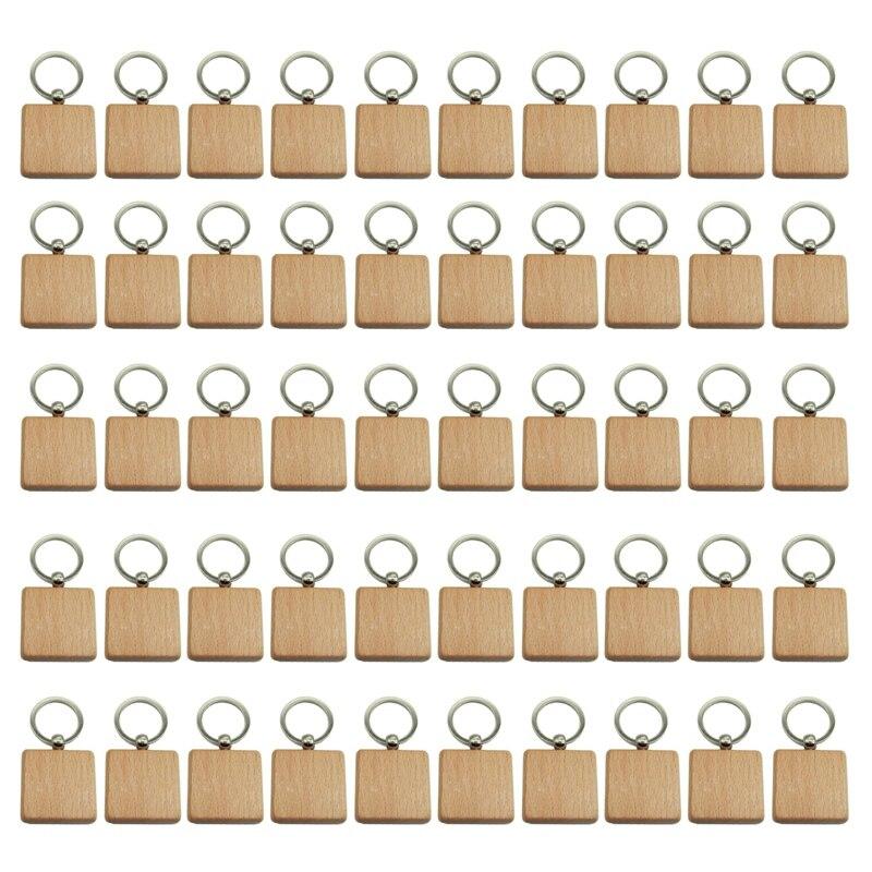 50 قطعة Blank بها بنفسك فارغة خشبية المفاتيح مربع منحوتة حلقة رئيسية خشبية حلقة رئيسية 40x40 ملليمتر