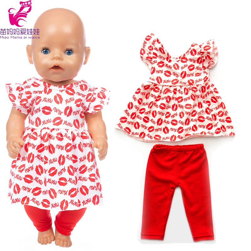 17 Inch Born Baby Doll Clothes Trousers Red Lips 18 Inch American Generation Girl Doll Clothes Shirt Dress