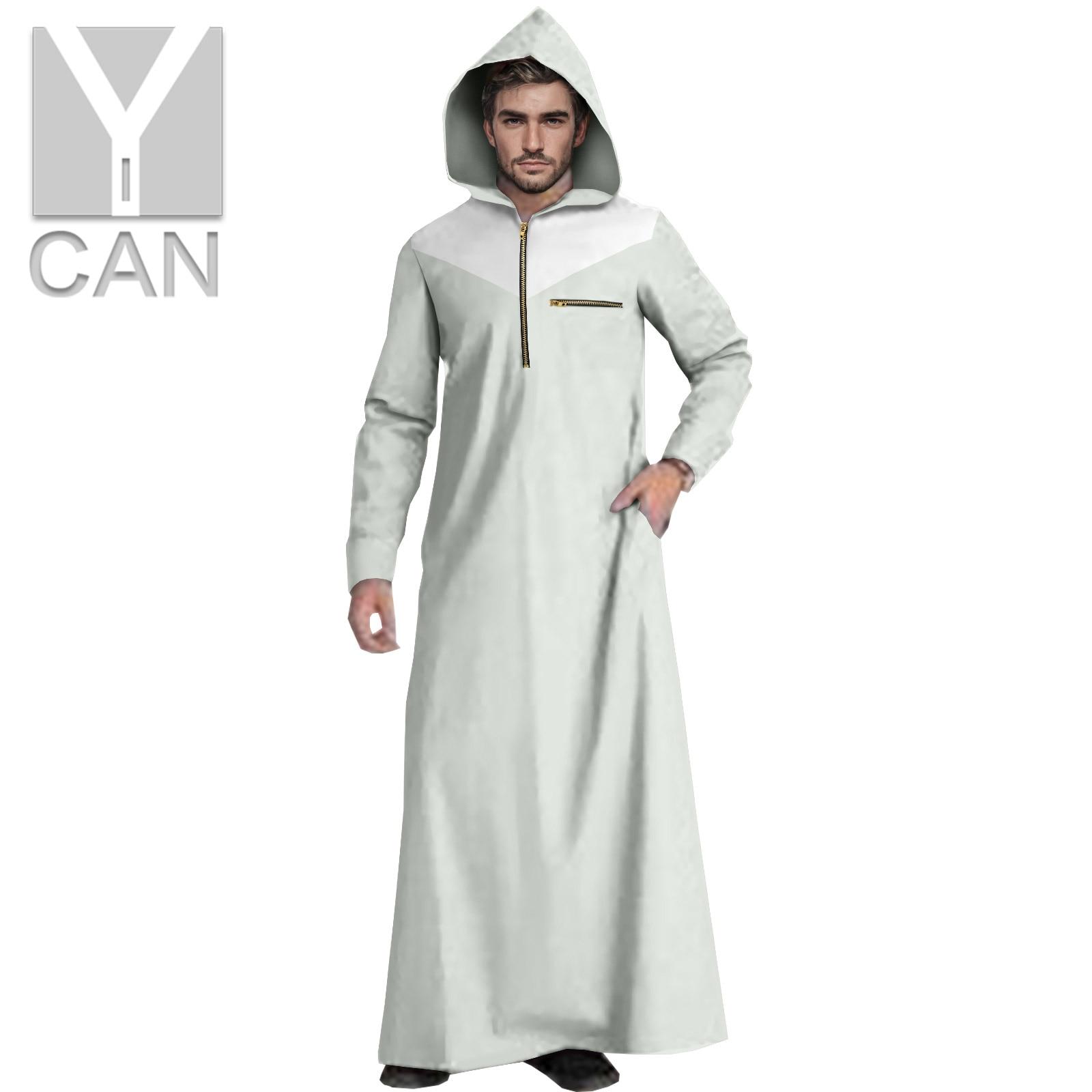 Y-CAN Muslim Fashion Men Islamic  Kaftan Pakistan Free Long Sleeve Abaya Robes  Modal Clothing  Hooded Robe Jubba Thobe Y211002