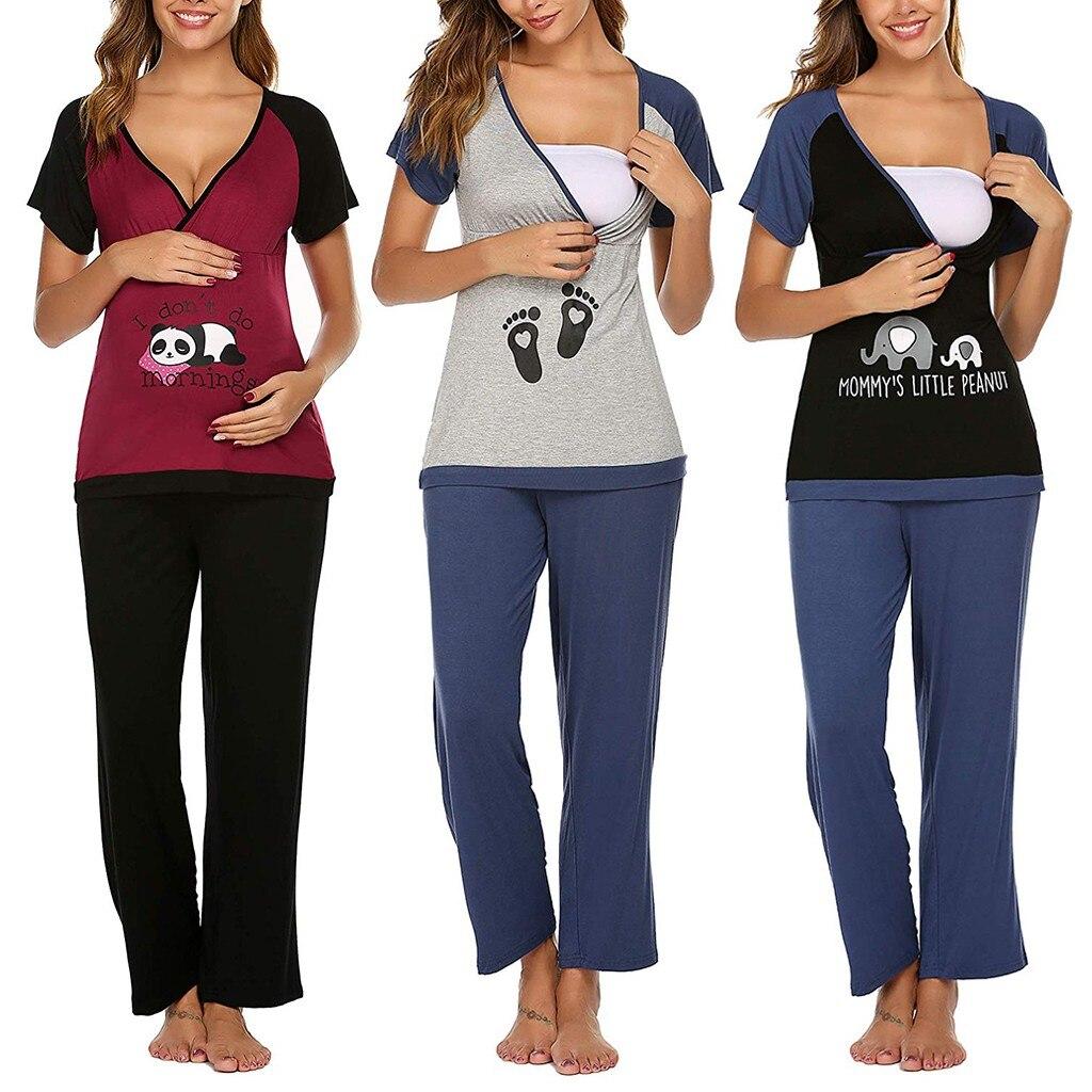 ملابس حمل تي شيرت الحمل المرأة طويلة الأكمام الكرتون البطريق بلايز الحمل تي شيرت الملابس النسائية الملابس Pergnance