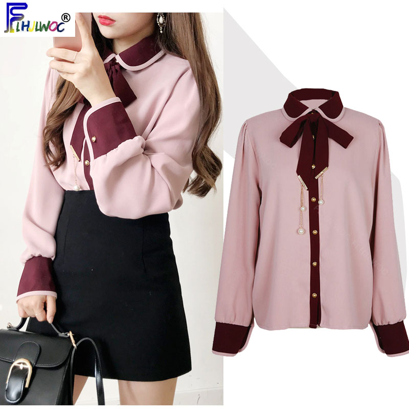 2020 primavera novo design laço topos feminino manga longa bonito estilo preppy coréia temperamento senhora botão branco camisa blusa rosa