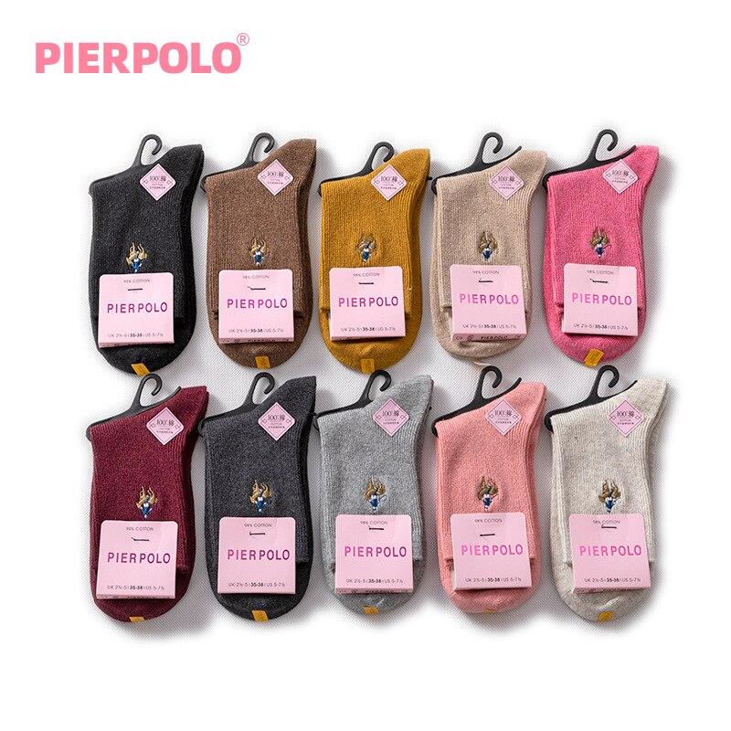 PIER POLO mujer Calcetines moda Casual Color sólido 97% algodón calcetines largos para mujeres Meias señoras bordado Otoño Invierno Calcetines