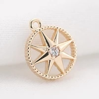 color preserved double cross star zircon pendant embossed outer ring inlaid with diamond pendant diy earrings pendant handmade m
