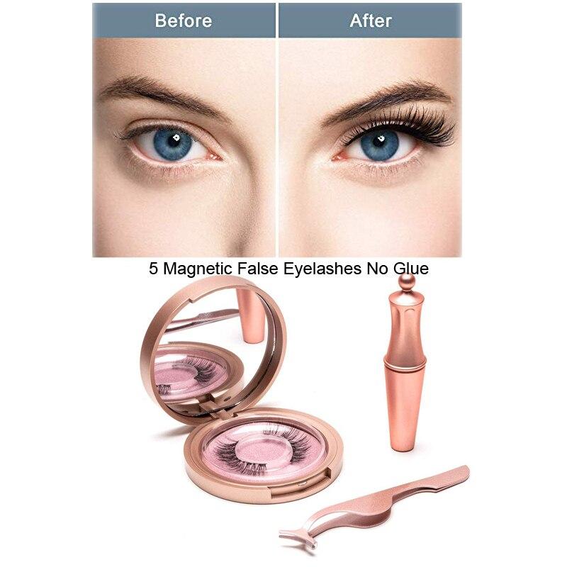 Pestañas magnéticas 5D, delineador de ojos, imanes de doble capa, pestañas postizas magnéticas, sin pegamento, extensiones de pestañas postizas naturales y suaves