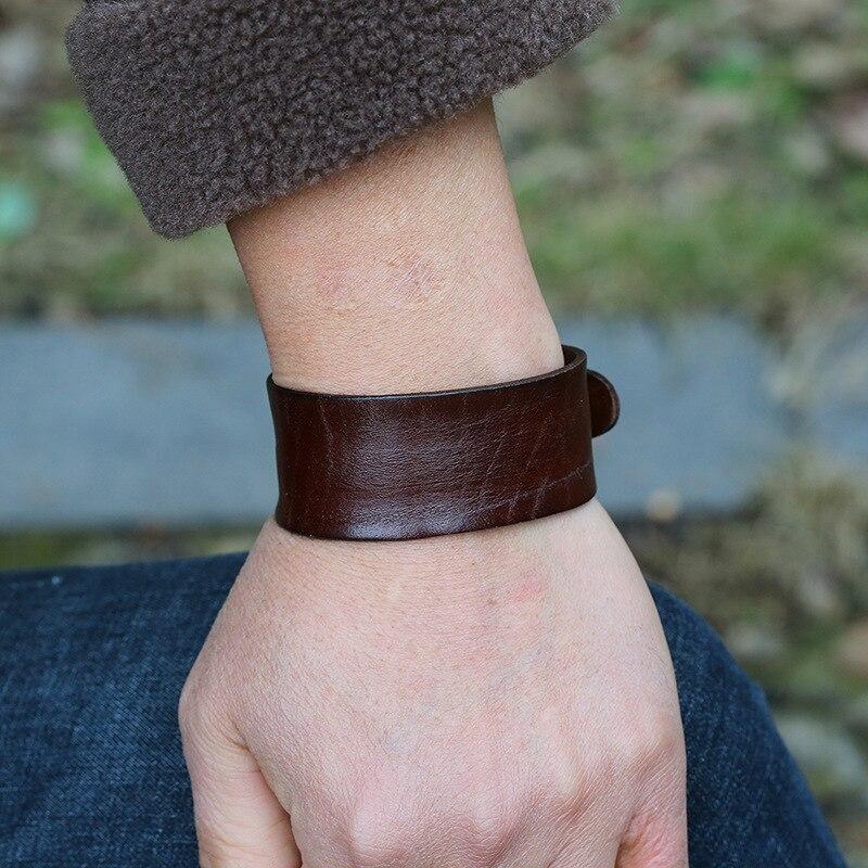 Pulsera Vintage Retro de cuero marrón para hombre, pulsera ajustable de estilo Punk, joyería de moda para hombre