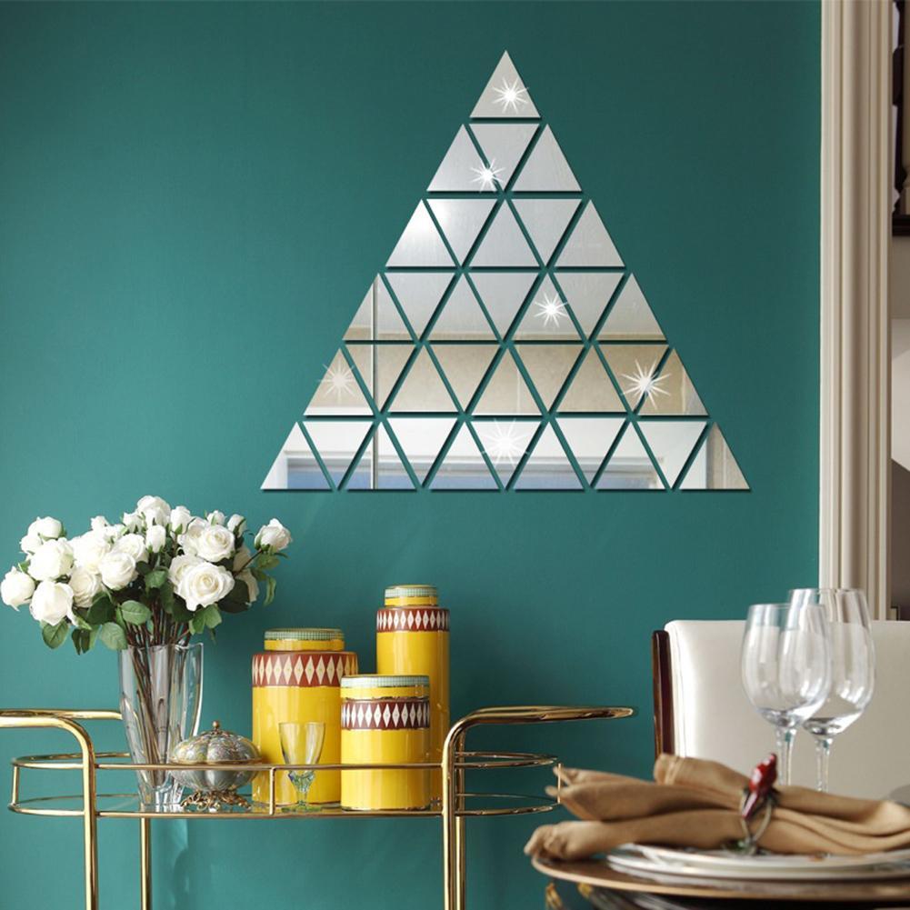 100 шт треугольной формы акриловые зеркальные наклейки обои декоративные настенные стикеры детские наклейки для спальни гостиной